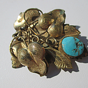 Large Antique 14K Yellow Gold Floral Victorian Brooch with Turquoise