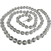 Extra Long Opera Length Faceted Quartz Rock Crystal Necklace Scarce Length ~ Edwardian Era