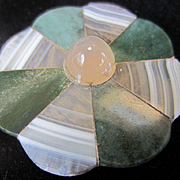 Antique Scottish Agate and Yellow Chalcedony Scalloped Plaque for Brooch ~ Pendant or Pin