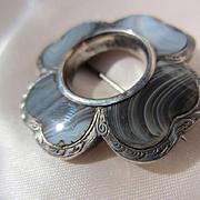 Antique Scottish Moss Blue Agate Silver Brooch ~ Victorian Era
