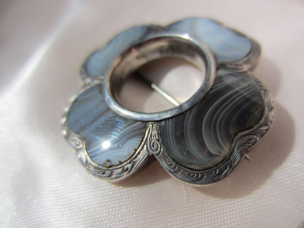 Antique Scottish Moss Blue Agate Silver Brooch ~ Victorian Era