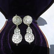 Finest Antique Rock Crystal Girandoles Dangle Earrings ~ Georgian Circa 1750