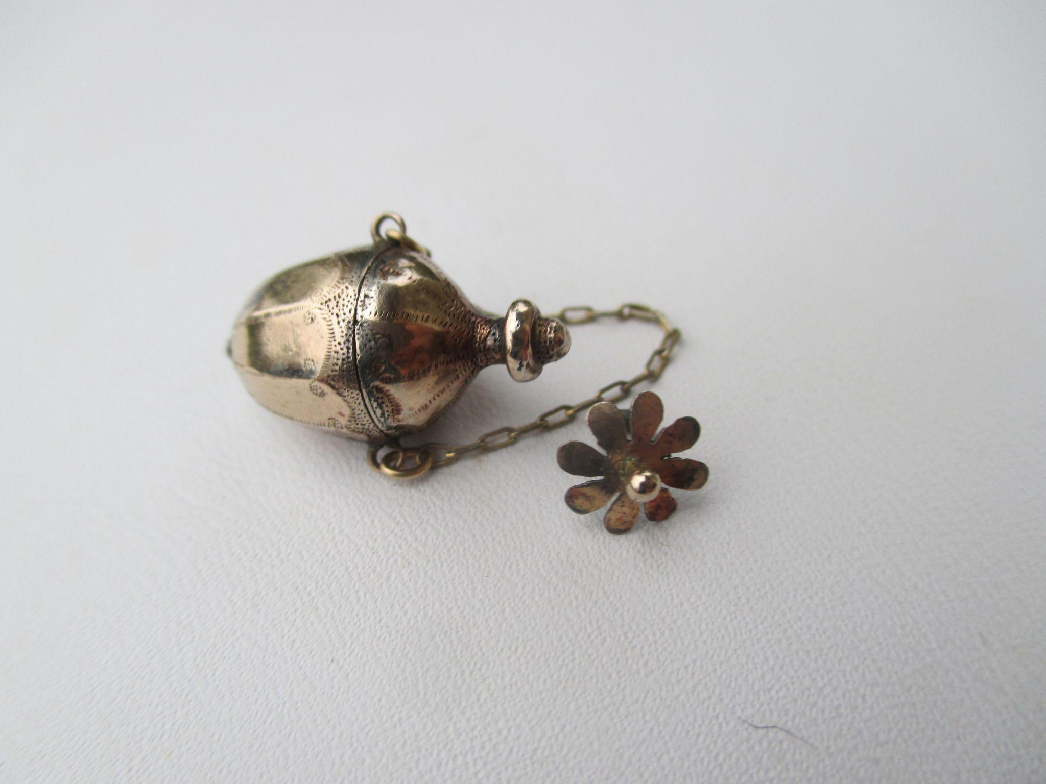 Shop Special! Antique Miniature Child's 15K Gold Perfume Vinaigrette Pendant / Chatelaine ~ Georgian Period