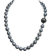 Vintage Extra Large Baroque Faux Pearl Necklace Signed Miriam Haskell