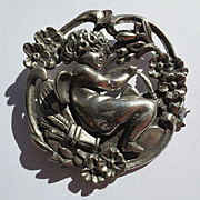 Antique Art Nouveau Silver Cupid Brooch ~ Extra Large Scale 54 Grams..