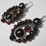Spectacular Antique Genuine Glowing Red Bohemian Garnet Earrings in Silver ~ Victorian Period