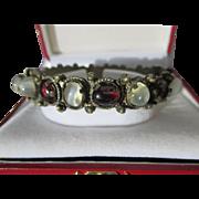 Shop Special! Antique Moonstone and Garnet Cabochon Bracelet ~ Edwardian Period