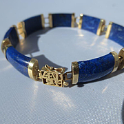 Vintage Wonderful Genuine Lapis Lazuli ~ 14K Yellow Gold Chinese Bracelet ~ Retro Period