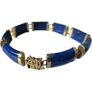 Vintage Wonderful Genuine Lapis Lazuli ~ 14K Yellow Gold Chinese Bracelet ~ Retro Period