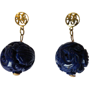 Shop Special! Vintage Carved Lapis Lazuli and 14K Gold Dangle Earrings ~ Chinese