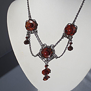 Wonderful Antique Arts and Crafts Amber and Sterling Festoon Necklace ~ Circa 1900