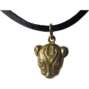 Fantastic Egyptian Revival Gold Panther Pendant / Charm with Persian Turquoise Eyes.. Circa 1930