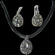 Antique Black Dot Paste Girandole Earrings and Pendant Georgian period ~