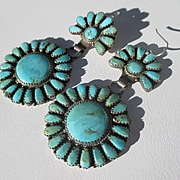 Fantastic Navajo Native American Turquoise and Silver Needlepoint Cluster Earrings ~ Vintage Master Silversmith Begay