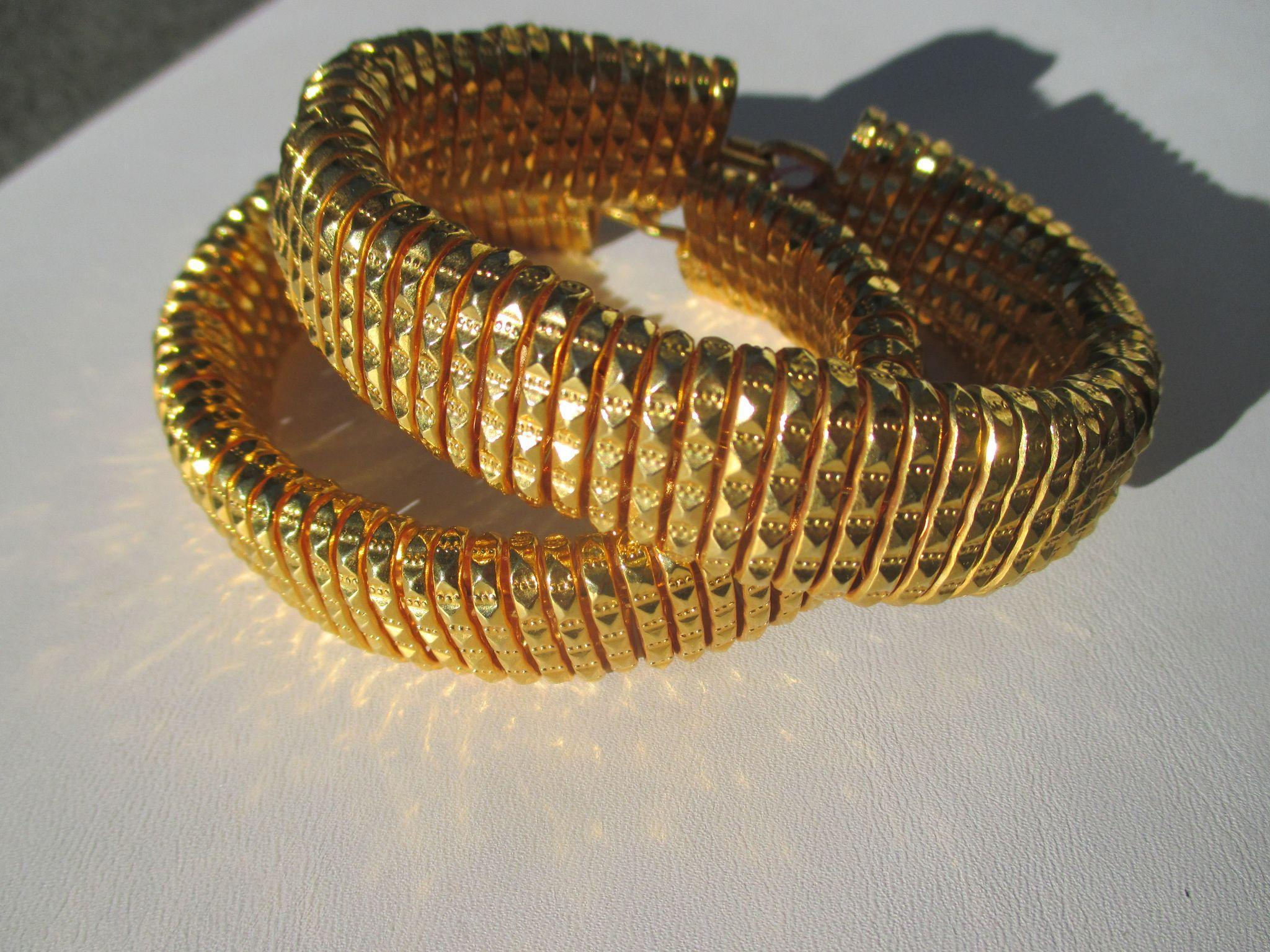 Sensational Gold EP Vintage Pair of Diamond Faceted French Cut Wire Bangles ~ Egyptian Revival