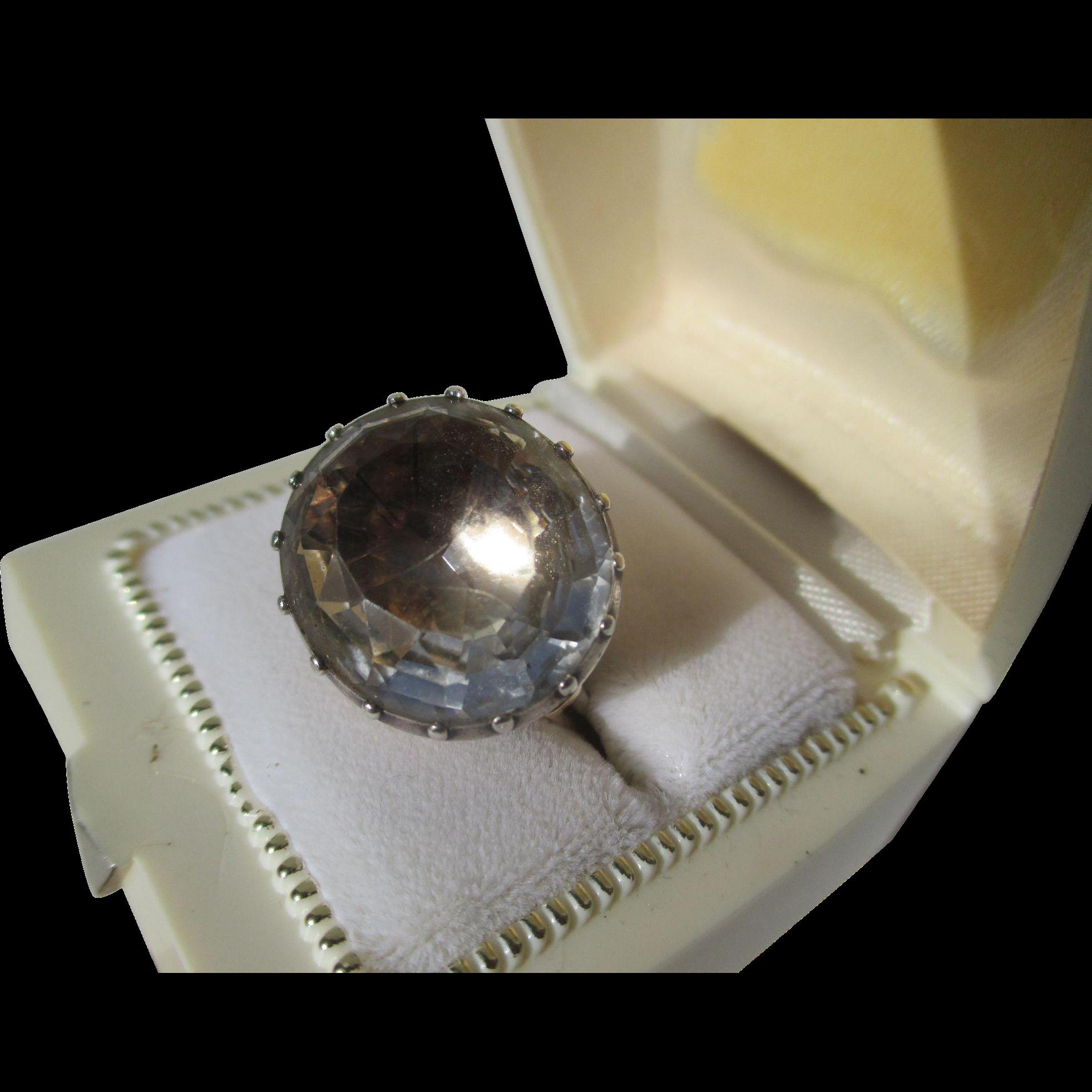Shop Special! Spectacular 22 Carat Natural Quartz Crystal Georgian Ring