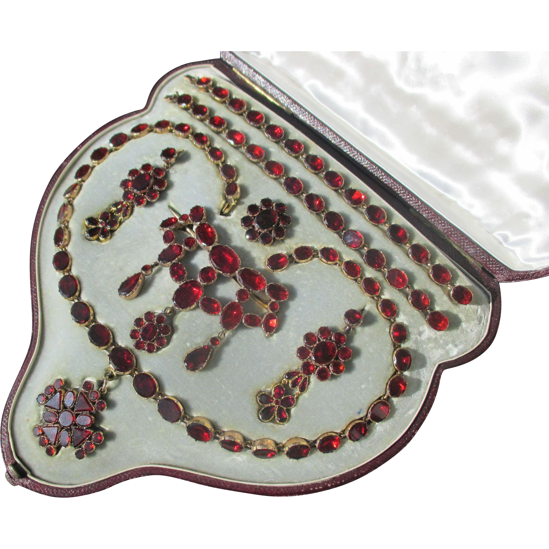 Shop Special! Antique Suite by Harvey and Gore Boxed Riviere Necklace 2 bracelets / 2 Brooches / Earrings / Garnet Paste