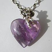 Shop Special! Natural French 37+ Carat Amethyst Heart with Silver Putti and Chain ~ Vintage Art Deco