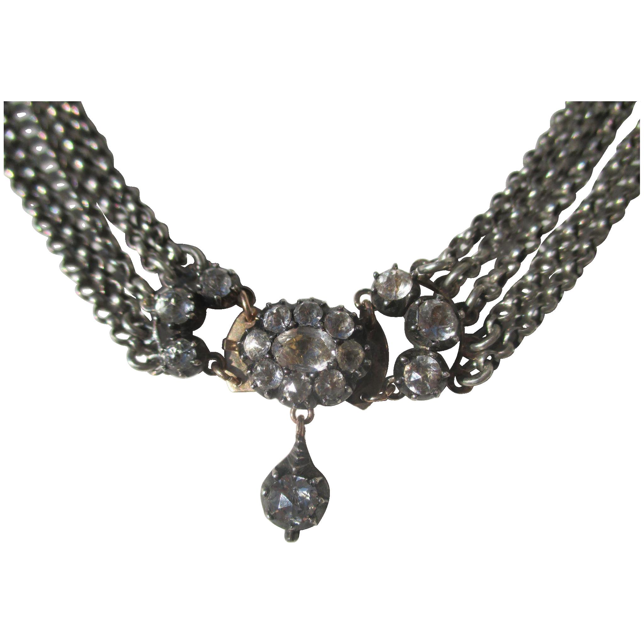 Shop Special! Antique and Rare 5 Strand Quartz Rock Crystal Necklace ~ Georgian Period