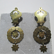 Shop Special! Unique Antique Flower Basket Dangle Earrings in Gold ~ Early Victorian Period