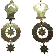 Extremely Unique Antique Flower Basket Dangle Earrings in Gold ~ Early Victorian Period