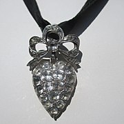 Shop Special Antique French Silver and Paste Large Puffy Heart Pendant ~ Edwardian Era