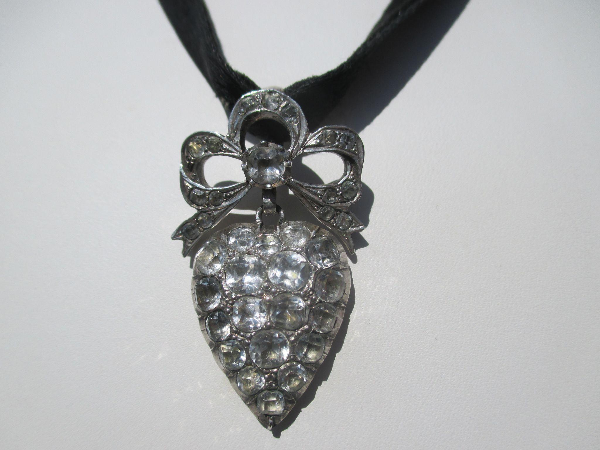 Antique French Silver and Paste Large Puffy Heart Pendant ~ Victorian Era