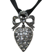 Antique French Silver and Paste Large Puffy Heart Pendant ~ Edwardian Era