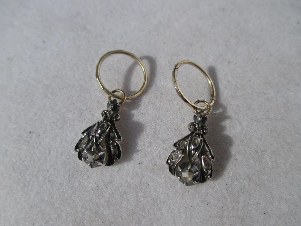 Shop Special! Fabulous Antique Gold Hoop Earrings with Diamond Dangle Day Night Earrings ~ Georgian