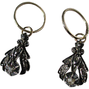 Shop Special! Fabulous Antique Gold Hoop Earrings with Diamond Dangle Day Night Earrings ~ Georgian