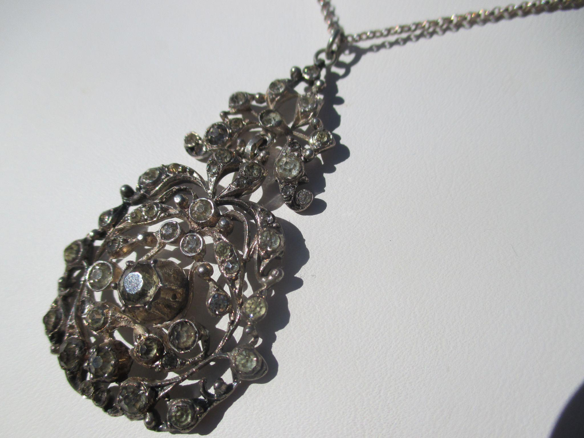 Antique Paste Pendant / Necklace 900 Silver ~ Victorian Period