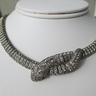 Sensational Glitzy Sterling Silver and Paste Snake Collar / Necklace ~ Art Deco Period