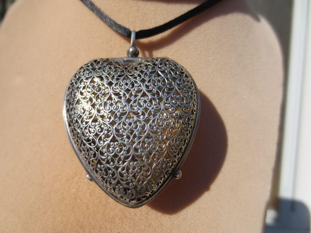 Huge Antique Heart Shaped Gorham Sterling Silver Perfume Vinaigrette Pendant ~ Victorian Period