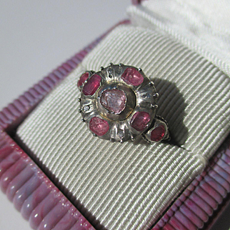 Antique Natural Ruby Diamond and Gold Georgian Ring ~
