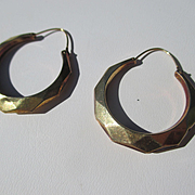 Antique Hoop Creole 14K Yellow Gold Earrings