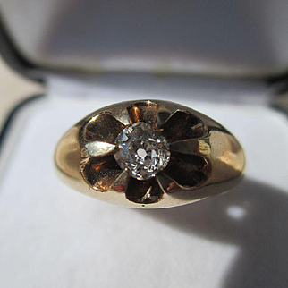 Antique 70 point Solitaire Mine / Cushion Cut Diamond Ring 14K Yellow Gold ~ Victorian Era