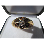 Antique 50 point Solitaire Mine / Cushion Cut Diamond Ring 14K Yellow Gold ~ Victorian Era