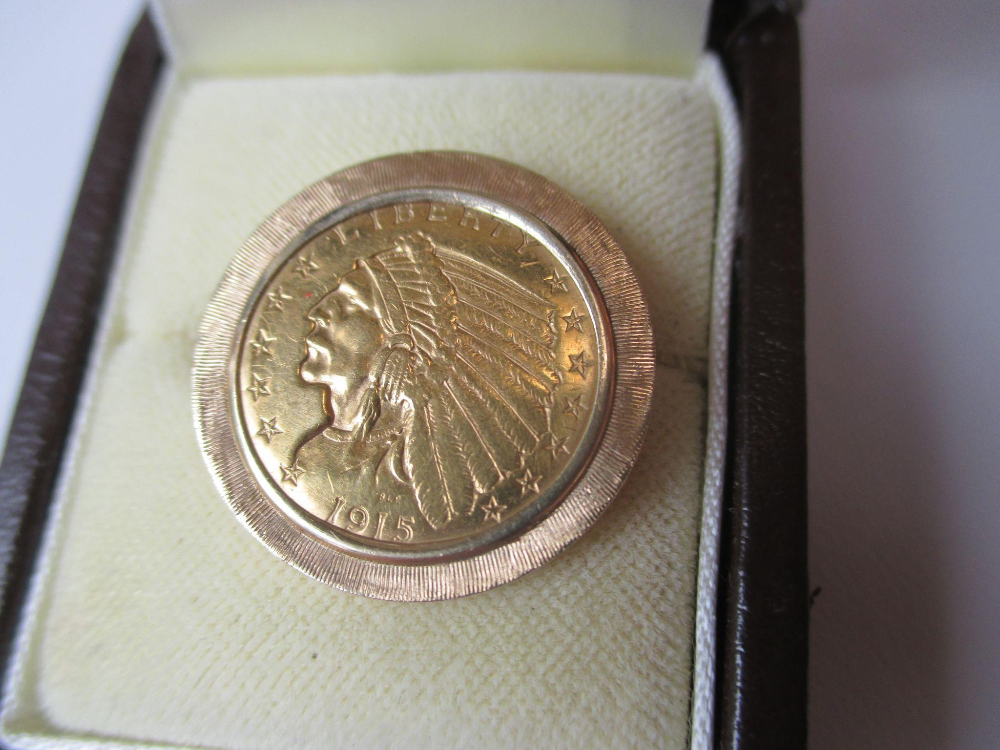 Antique 1915 $2 1/2 Dollar United States Indian Head Quarter Eagle Gold Coin Tie Tack