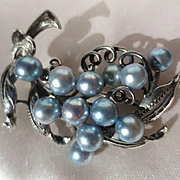 Lovely Vintage Blue Cultured Pearl and 950 Silver Brooch by Designer Caribe ~ Mid-Century