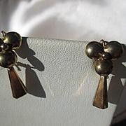 Antique 14K Gold Pinwheel Dangle Earrings ~ Victorian Period