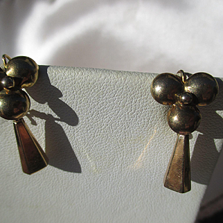 Antique 14K Gold Pinwheel Dangle Earrings ~ Victorian Period