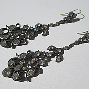 Fabulous French Long Wonderful Drippy Dangle Paste Earrings ~ Rock Crystal ~ Silver and Gold ~ Early Victorian