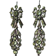Rare Antique Portuguese Chrysoberyl Earrings with Silver and Gold