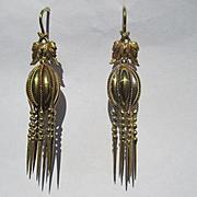 Fine Antique Etruscan Revival 18K Gold Earrings ~ Victorian