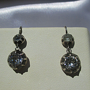 Shop Special! Antique True French Paste Dangle Earrings ~ 6 3/4 carats mine cut TPW ~ Georgian Era Circa 1800