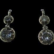 Shop Special! Antique True French Paste Dangle Earrings ~ 6 3/4 carats mine cut TPW ~ Georgian Era Circa 1800