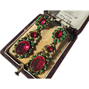 Antique French Paste Day / Night Earrings ~ Early Victorian