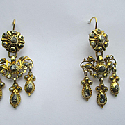 Antique Diamond and Gold Girandole Dangle Earrings ~ Georgian