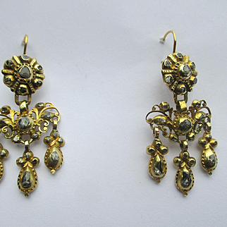 Antique Diamond and Gold Girandole Dangle Earrings ~ Georgian