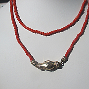 Long and Unique Antique Coral Necklace with Gold Clasping Hands Clasp ~ Victorian